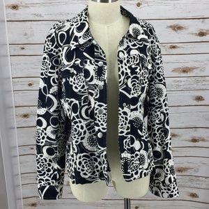 Christopher & Banks jacket jean style floral linen